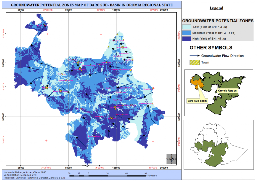 Groundwater Potential Zones Map of Baro sub-basin