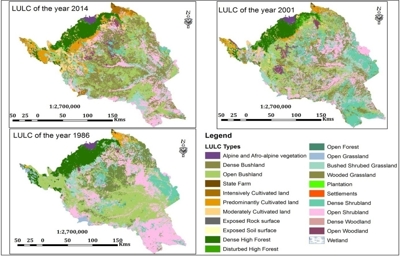 Land use and land cover maps of the years 2014, 2001, and 1986
